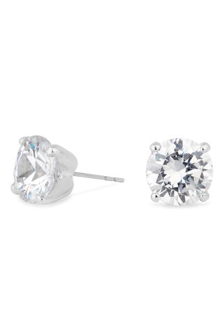 Jon Richard Silver Plated Cubic Zirconia Round Stud Earring