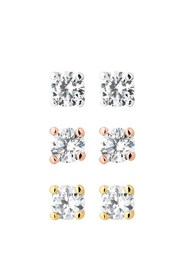 Jon Richard Cubic Zirconia Stud Earring - Pack Of 3