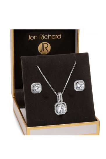 Jon Richard Silver Plated Clear Crystal Square Drop Matching Set In A Gift Box