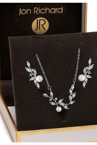 Jon Richard Crystal & Pearl Jewellery Set In A Gift Box