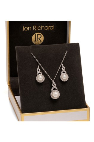 Jon Richard Silver Plated Pearl Twist Halo Matching Set In A Gift Box