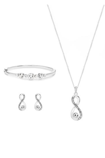 Jon Richard Silver Plated Crystal Infinity Jewellery Set In A Gift Box