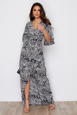 Girl In Mind Abstract Animal Wrap Maxi Dress