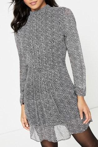 Topshop Leopard Pintuck Mini Dress