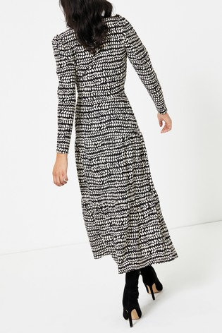 Topshop Black And White Abstract Tiered Midi Dress