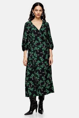 Topshop Green Daisy Tie Wrap Midi Dress