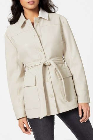 Topshop Ecru Faux Leather Tie Shacket