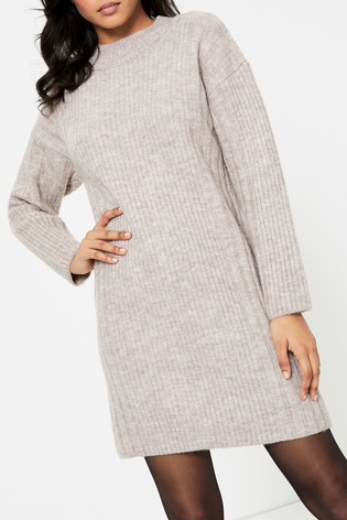 Topshop Plaited Crew Neck Knitted Dress