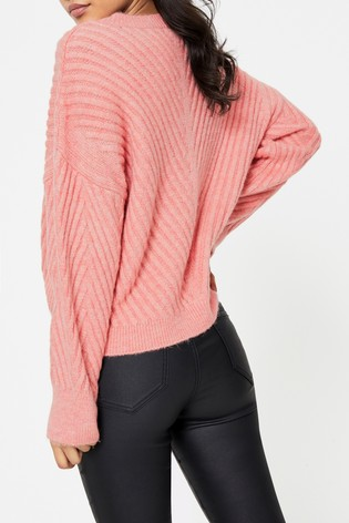 Topshop Pink Mix Chevron Jumper
