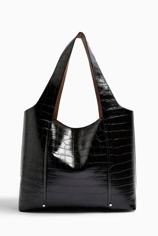 Topshop Taylor Black Crocodile Tote Bag