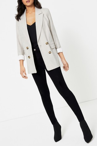 Topshop Ecru Saturday Double Breasted Blazer