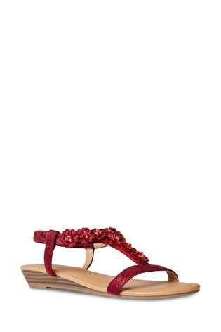 Joe Browns Red Turning Heads Shimmer Sandals