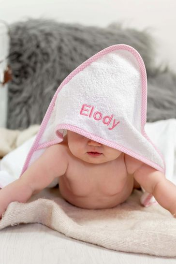 Personaliased White/Pink Hooded Towel Edged by Percy And Nell