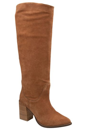 Ravel Brown Leather Pull On Knee High Boot