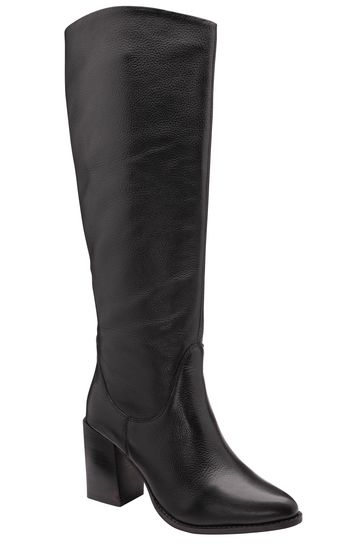 Ravel Black Leather Pull On Knee High Boot