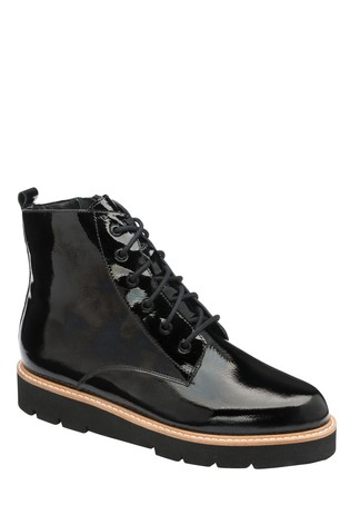 Ravel Black Patent Leather Ankle Boot