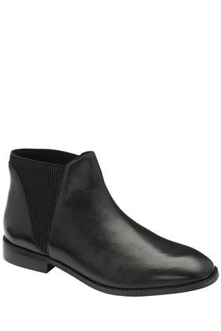 Ravel Black Leather Chelsea Ankle Boot