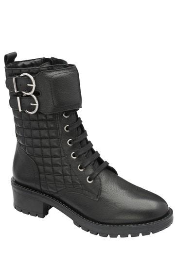 Ravel Black Leather Biker Boot