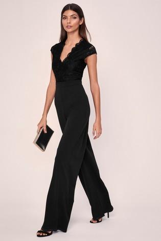 Lipsy Black Short Sleeve Lace Jumspuit