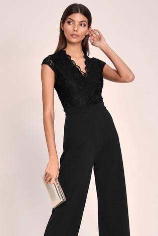 Lipsy Black Regular Short Sleeve Lace Jumspuit