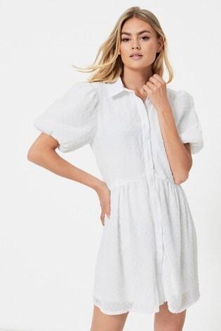 Missguided White Puff Sleeve Shirt Smock Dress