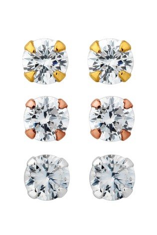 Simply Silver Sterling Silver 925 Tri -Tone Cubic Zirconia Stud Earring - Pack of 3