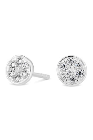 Simply Silver Sterling Silver 925 Cubic Zirconia Pave Disc Stud Earring