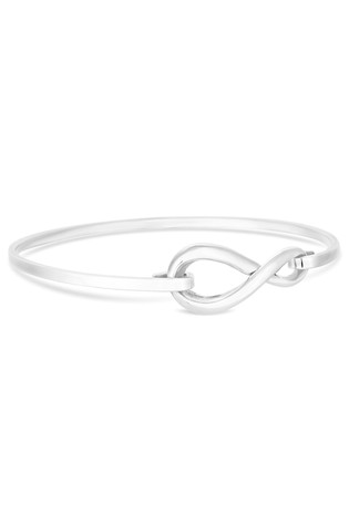 Simply Silver Sterling Silver 925 Infinity Clasp Bangle