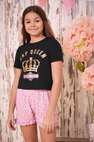 Lipsy Girl Black Printed Short PJ Set