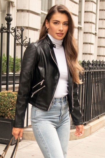 Lipsy Black Faux Leather Quilted Biker Jacket