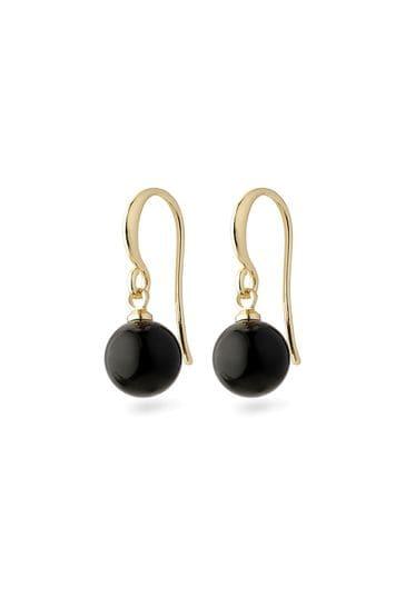 Pilgrim Black Goldie Plated Earring
