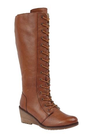 Lotus Footwear Brown Lace Wedge Leg Boot