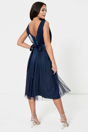 Anaya With Love Navy Bow Back Wide Strap Midi Dress