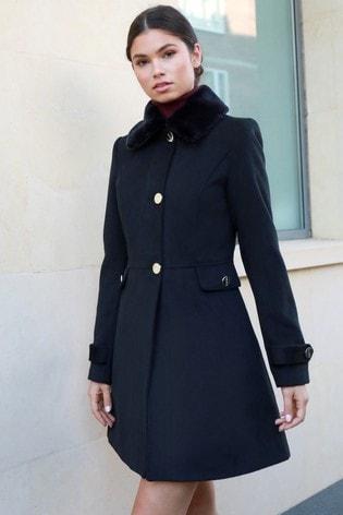 Lipsy Black Faux Fur Trim Princess Coat