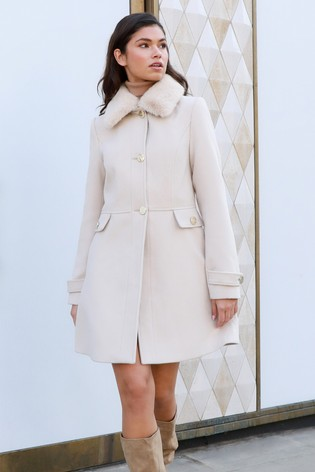 Lipsy Neutral Faux Fur Trim Princess Coat