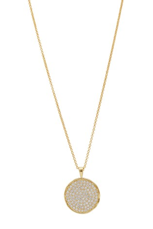 Simply Silver 14ct Gold Plated Sterling Silver 925 CZ Round Disc Pendant