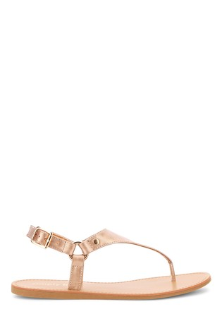 Simply Be Gold Extra Wide Fit Tampa Harness Toe Post Sandals