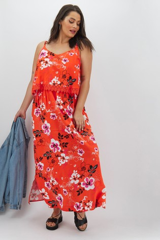 Simply Be Lace Trim Double Layer Floral Maxi Dress