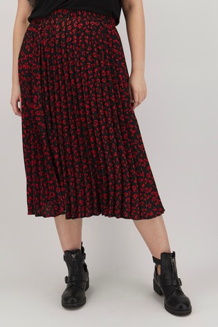 Simply Be Pleated Animal Print Skirt