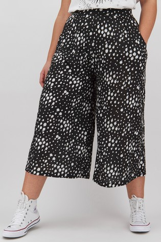 Simply Be Spot Print Jersey Culottes