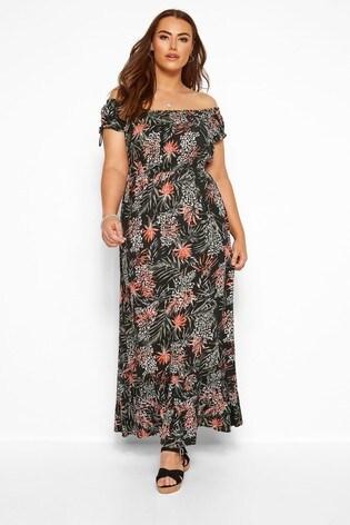 Yours Curve Palm & Animal Bardot Maxi Dress