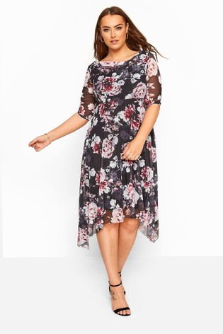 Yours Curve Floral Cowl Neck Mesh Dress