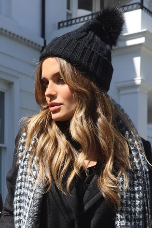 Lipsy Black Cable Knit Pom Hat