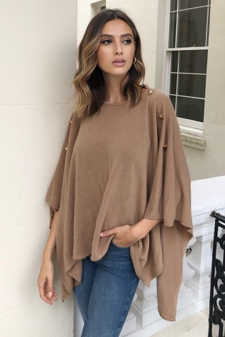 Lipsy Camel Button Front Poncho