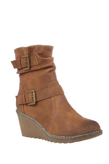 Lotus Footwear Brown Casual Wedge Boot