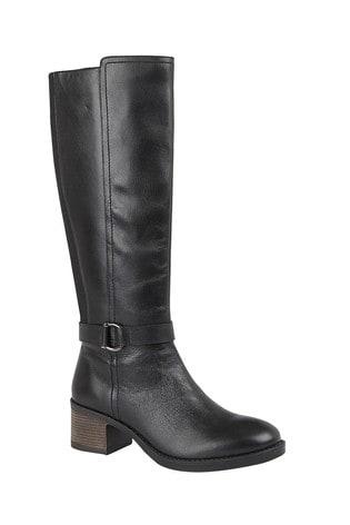 Lotus Footwear Black Leather Leg Boot