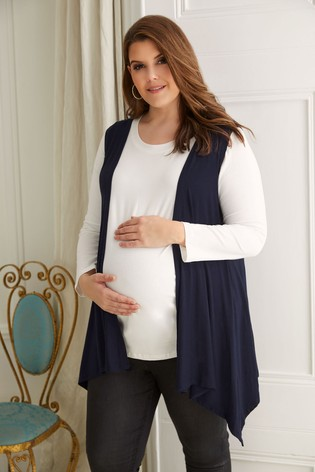 Bump It Up Navy Maternity Sleeveless Waterfall Cardigan