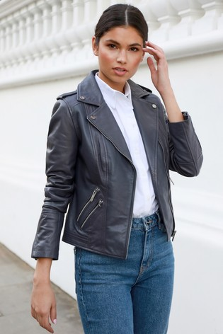 Lipsy Grey Quilted Leather Jacket