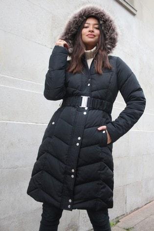 Lipsy Black/Neutral Fur Long Line Padded Coat
