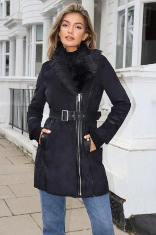 Lipsy Black Bonded Faux Fur Trim Jacket
